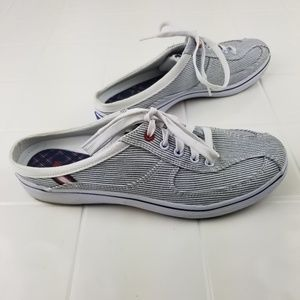 Keds size 8 striped backless slip on sneakers